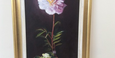 Single Peony In Vase by Margaret Ruscoe